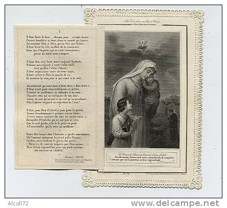 Image Pieuse Dentelle ( Avec Un Volet ) : La Lutte Entre L'Impiété Et La Charité - Ch. Letaillé Dir Pl. 21 Baumard  édit - Images Religieuses