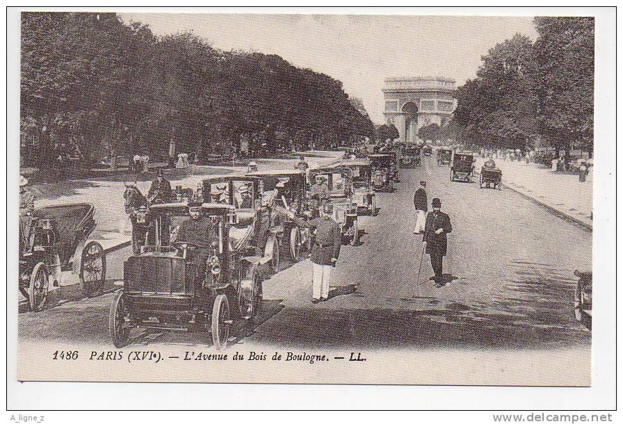 Ref 65 Reproduction CPA Paris Avenue Du Bois De Boulogne Gros Plan Voitures Anciennes - Taxi & Carrozzelle