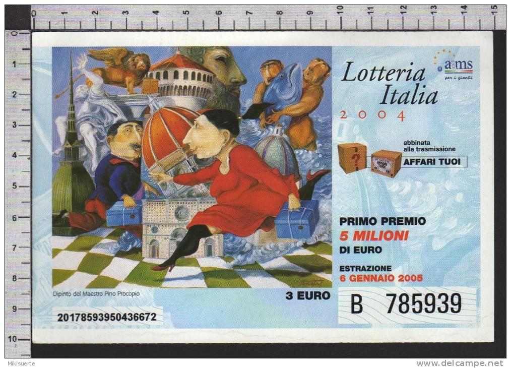 L08 BIGLIETTO LOTTERIA ITALIA 2004 DIPINTO MAESTRO PINO PROCOPIO - Biglietti Della Lotteria