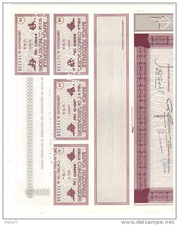 BIG98 - Banca Nazionale Delle Comunicazioni 20/12/82 - Banca & Assicurazione