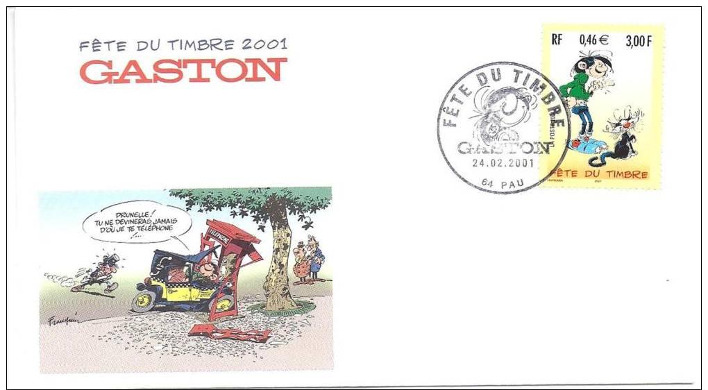 GASTON LA GAFFE / FETE DU TIMBRE 2001 / FDC FRANCE - FDC