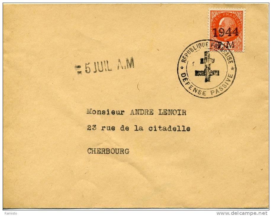 """39/45 - 2WW - RARE - N°521 Surchargé """"1944 FM"""" + Cachet """"République Française - Défense Passive"""" + Croix De Lorraine - Marcophilie (Lettres)"""