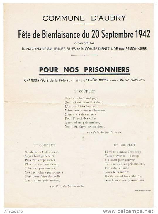 COMMUNE D'AUBRY 59 (NORD) Fête De Bienfaisance Du 20 Septembre 1942 - 1939-45