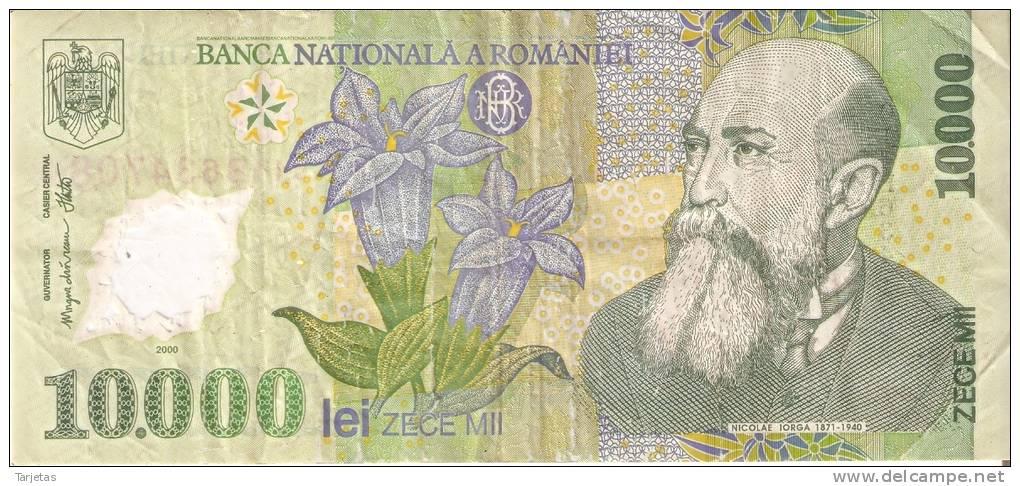 BILLETE DE RUMANIA DE 10000 LEI  DEL AÑO 2000 (BANKNOTE) POLIMERO - Rumania
