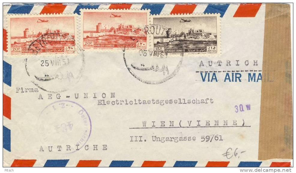 Austria - 1951 - Zensurierter Brief Von Beyrouth Nach Wien - Libanon