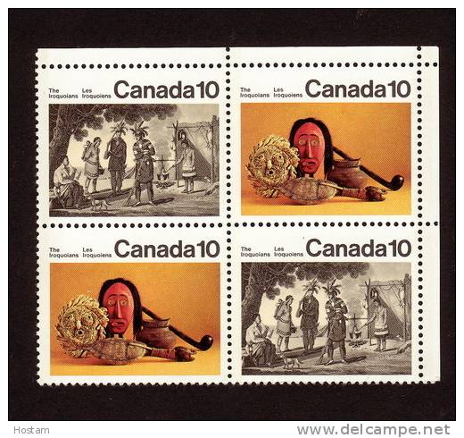 CANADA, 1976, #579i, IROQUOIAN INDIANS: Medallion Missing, UR Blank  BLOCK        MNH - Blocs-feuillets