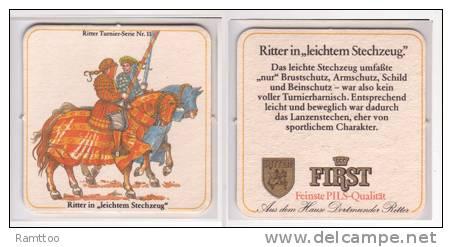 First Pils Ritter , No 11 , Ritter In Leichtem Stechzeug - Bierdeckel
