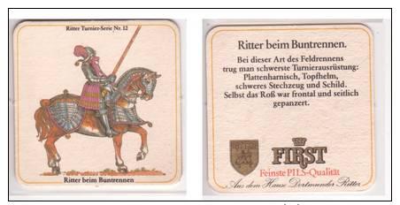 First Pils Ritter , No 12 , Ritter Beim Buntrennen - Bierdeckel