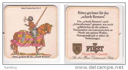 First Pils Ritter , No 8 - Ritter Gerüstet Für Das Scharfe Rennen - Bierdeckel