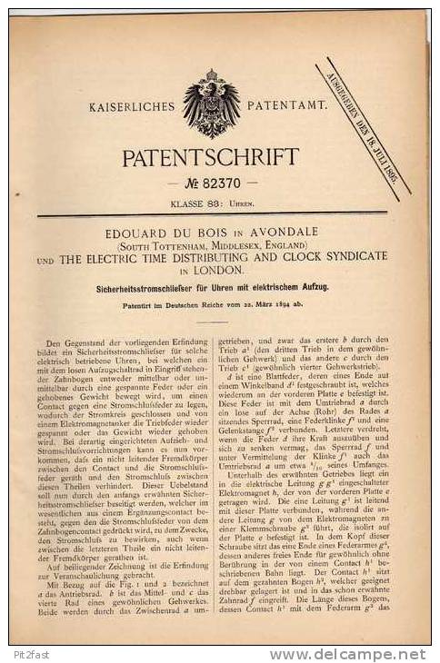 Original Patentschrift - E. Du Bois In Avondale Und London , 1894 , Uhr Mit Elektrischem Aufzug , Clock !!! - Jewels & Clocks