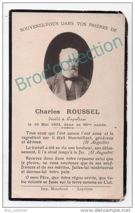 Lapalisse, Mémento De Charles Roussel, 16/05/1933, 67 Ans, Commissionnaire En Vins, Souvenir Mortuaire - Devotieprenten