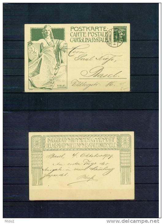 Schweiz / Switzerland 1909 Ganzsache P38 Echt Gelaufen Ersttag 4.10.1909 ?? - Enteros Postales