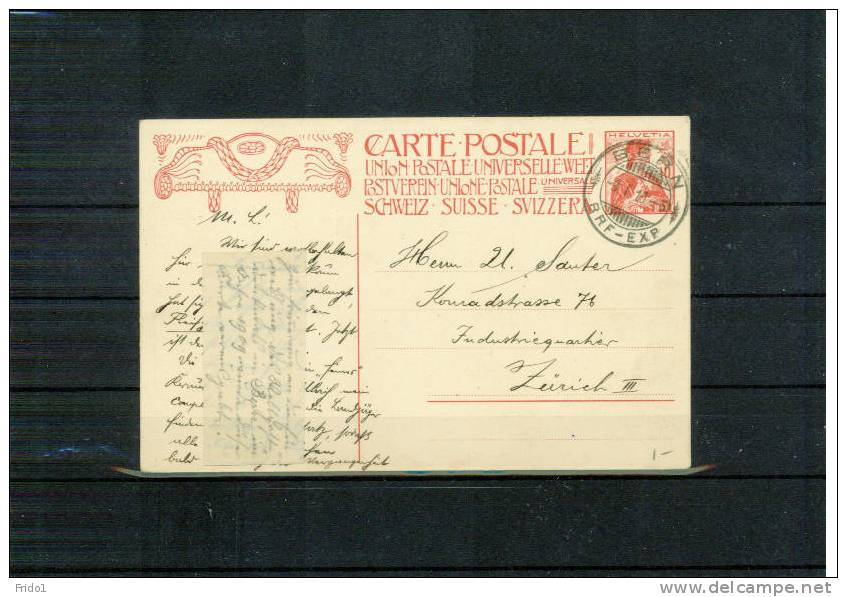Schweiz / Switzerland 1909 Ganzsache P68 Echfgelafen - Interi Postali
