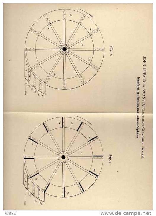 Original Patentschrift - J. Lefeaux In Swansea , Wales , 1894 , Schaufelrad Für Schiff , Dampfer !!! - Boats