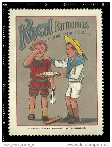Old Original German Poster Stamp (cinderella,reklamemarke) KOCH - Music, Harmonica, Accordion, Harmonika - Musik