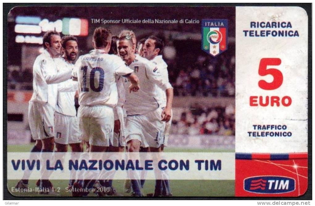 ITALIA - TIM RICARICA TELEFONICA - 5 EURO - NAZIONALE ITALIANA CALCIO - SCADENZA FEBBRAIO 2013 - USATA - Sport