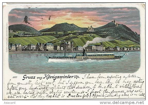 Gruss Au Konigswinter 5067 Litho Carl Garte Stampe Geistingen 1901 - Koenigswinter