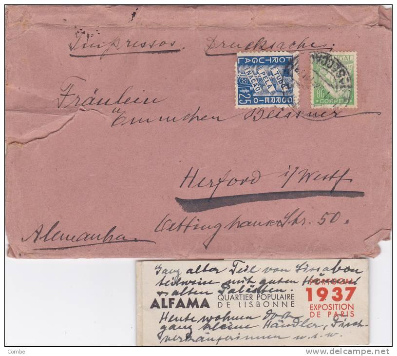 Lettre PORTUGAL 1937 Alemanha/723 - Marcophilie