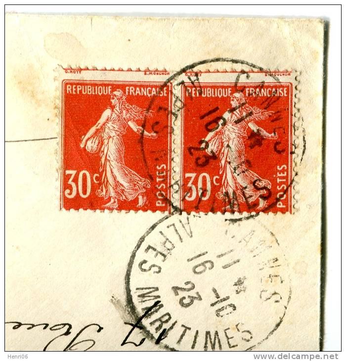 =*= Semeuse Paire 160 (voir Piquage) Sur Lettre Rec. Au Tarif Cannes 16101923 =*= - Covers & Documents