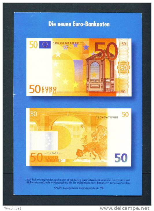 GERMANY  -  Introducing The Euro/Publicity Postcard/50 Euro  Unused As Scans - Coins (pictures)
