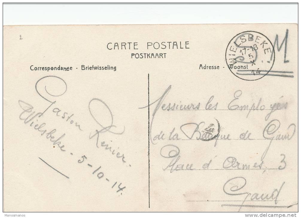 255/19 - WESTVLAANDEREN - Carte En Service Militaire WIELSBEKE 5 X 14 Vers GAND - TARDIF - WW I