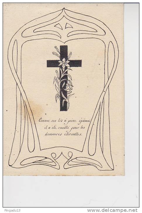 Peu Courant Faire-part Décès Enfant Manuscrit 6 Mars 1909 Photo Communiant Religion Croix Format 9 Par 13 Cm - Ohne Zuordnung