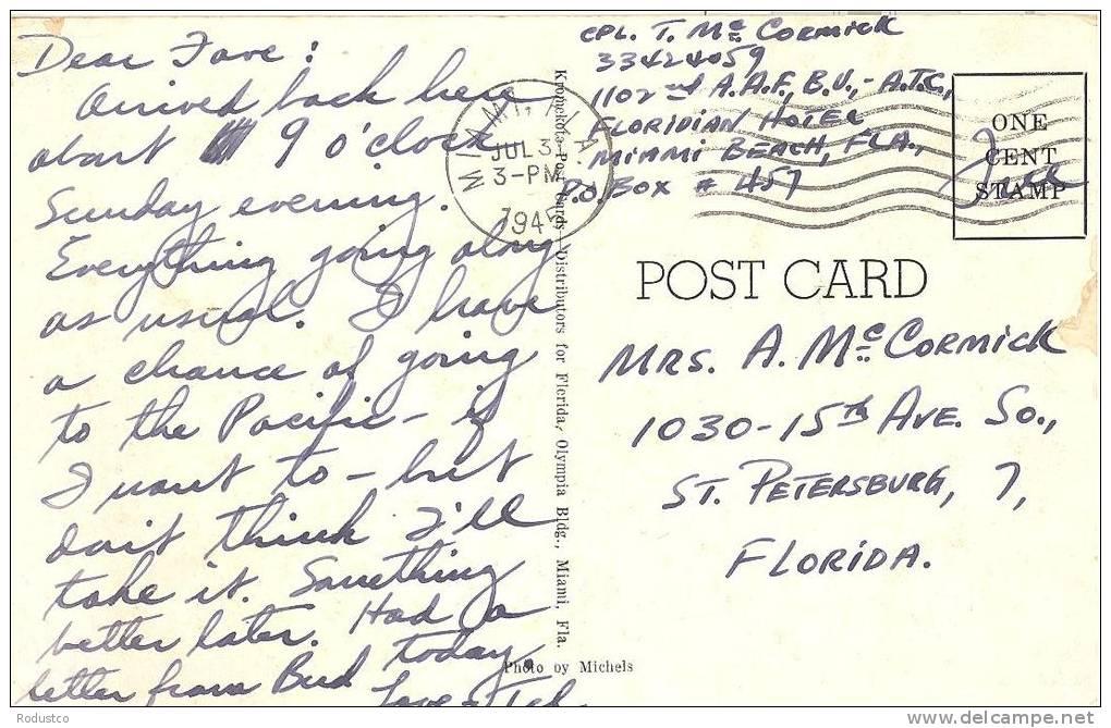 FELDPOST USA    THE FLEETWOOD HOTEL  MIAMI BEACH  FLORIDA - Guerra 1939-45