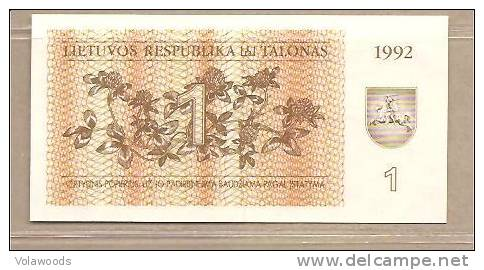 Lituania - Banconota Non Circolata Da 1 Talonas P-39 - 1992 - Lituanie
