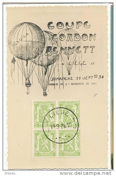 Concours Montgolfière Gordon Benett 11/9//38 Belgica Timbrée Du Jour Du Concours 4 Timbres - Liege