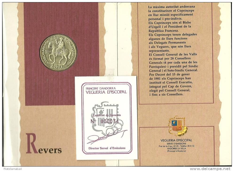 ANDORRA- 1990 .-MIL-LENARI BISBE SALA  MONEDA EN PLA DEL SERVEI D´EMISSIONS. - Andorra
