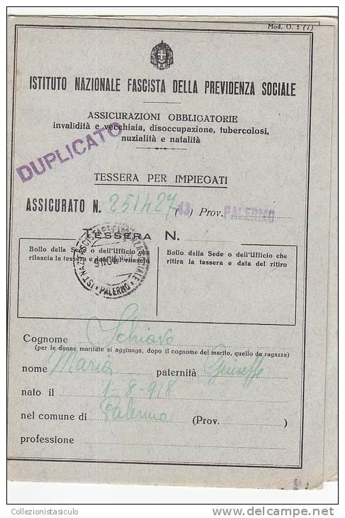 $-328- Libretto INPS Periodo Fascista Con 9 Marche - Istituto Nazionale Fascista Previdenza Sociale - Fiscali