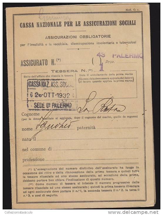 $-330- Libretto INPS Periodo Fascista Con 16 Marche - Cassa Nazionale Assicurazioni Sociali - 1900-44 Vittorio Emanuele III