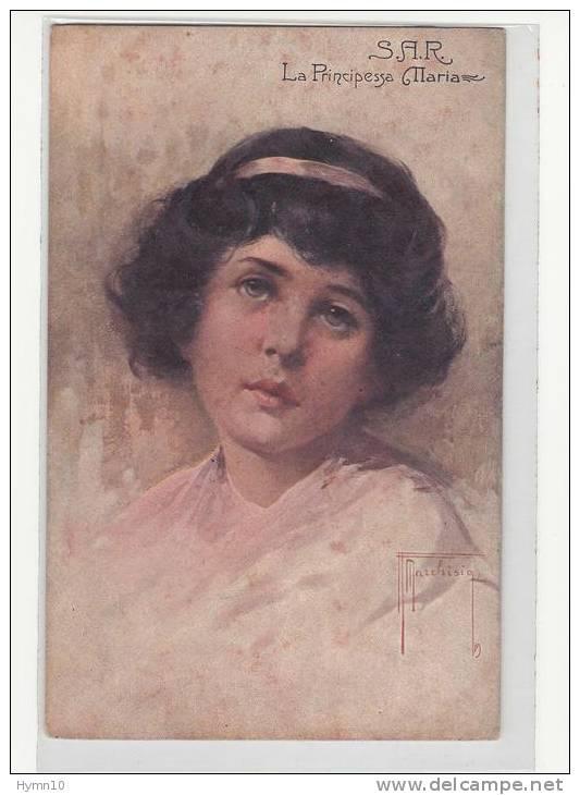 DA664-Primi Anni Del 1900 Cartolina CASA SAVOIA PRINCIPESSA MARIA-disegno MARCHISIO - Königshäuser