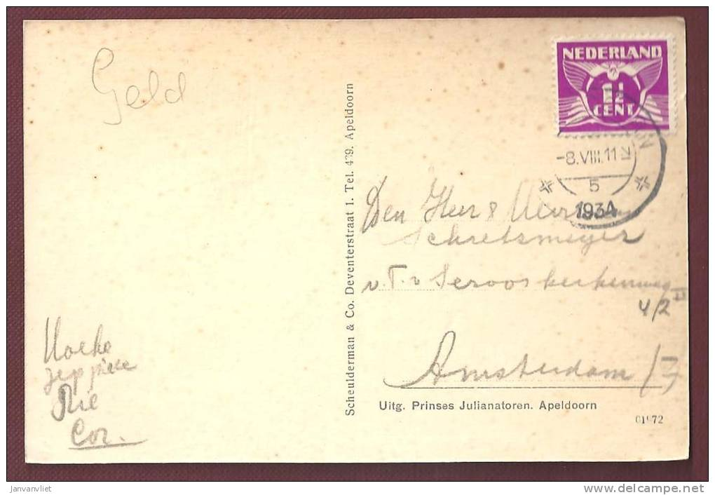 Apeldoorn - Grot Van Fingal Aan De Prinses Julianatoren - 1934 - Apeldoorn