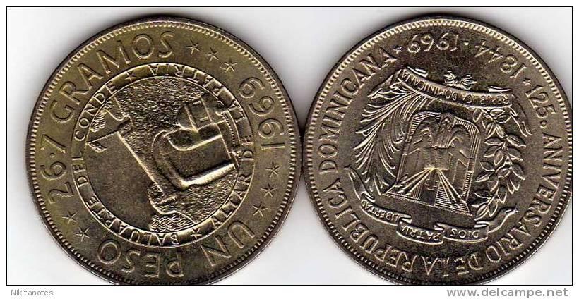 Dominican Republic 1 Peso 1969 125th Anniversary Of Republic Unc - Dominicaine