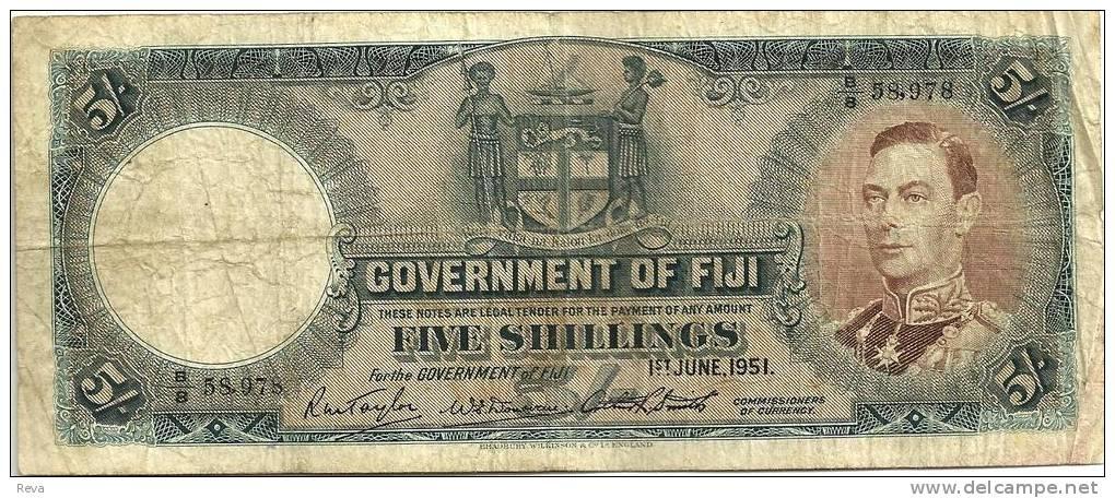 FIJI  BRITISH 5 SHILLINGS BLUE KGVI HEAD FRONT MOTIF BACK DATED 01-6-1951 P.37d F+ READ DESCRIPTION!!I - Fidji