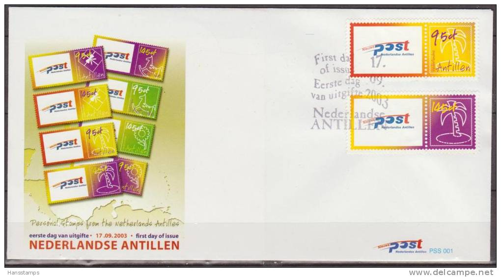 Nederlandse Antillen, 2003, Personal Stamps, Post, Palm Tree, PSS001,  FDC - Post