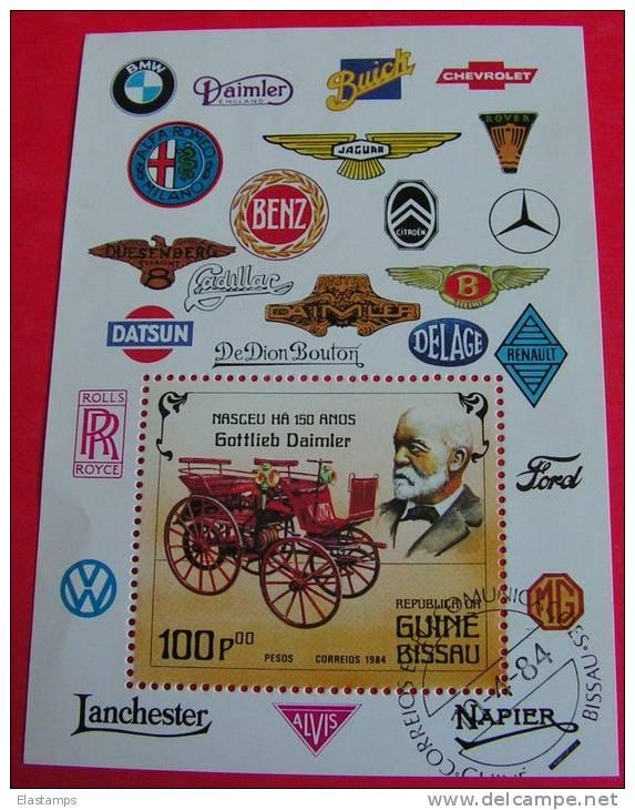 =Guinea - Bissau Block 1984 , Gottlieb Daimler , Verkehr  Auto - Guinea-Bissau