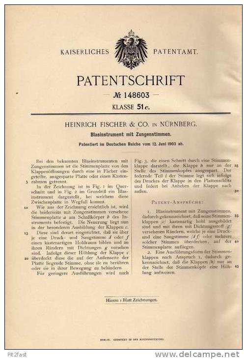 Original Patentschrift - Heinrich Fischer & Co In Nürnberg , 1903 , Tuba , Posaune , Trompete !!! - Musikinstrumente