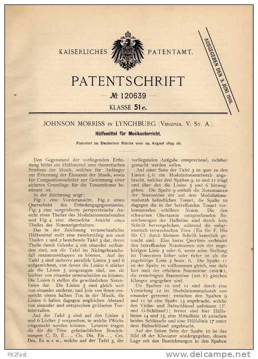 Original Patentschrift - J. Moriss In Lynchburg , 1899 , Musikunterricht - Hilfsmittel , Musik , Komposition !!! - Musikinstrumente
