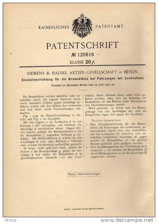 Original Patentschrift - Siemens & Halske In Berlin , 1900 , Bremsen Für Fahrzeuge Mit Lenkachsen !!! - Cars
