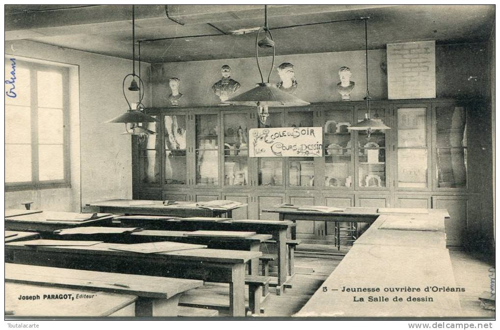 CPA 45 ORLEANS JEUNESSE OUVRIERE D ORLEANS LA SALLE DE DESSIN 1921 - Orleans