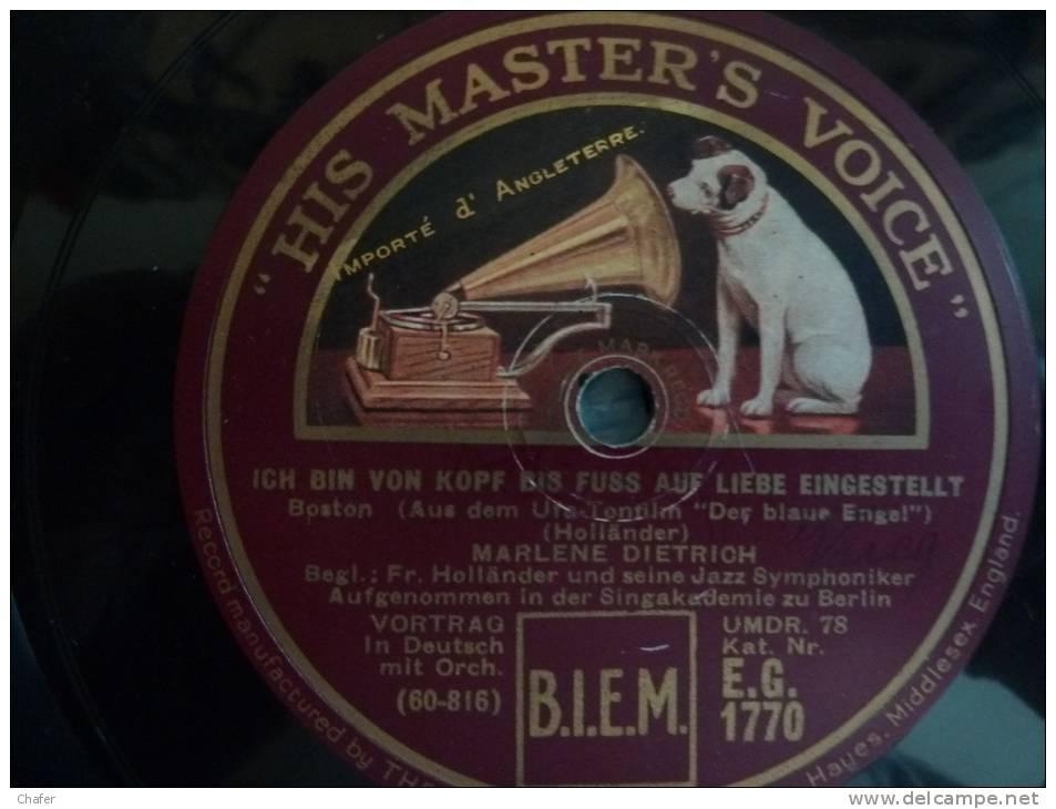 - 78 Tours - His Master´s Voice - Marléne Dietrich - Ich Bim Von Kopf Bis Fuss Auf Liebe Eingestellt - Imp D´angleterre - 78 Rpm - Schellackplatten