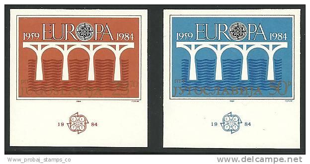 "1984 YUGOSLAVIA "" EUROPA CEPT-BRIDGE S"" COMPLETE IMPERF IMPERFORATED SET. RARITY. - Europa-CEPT"