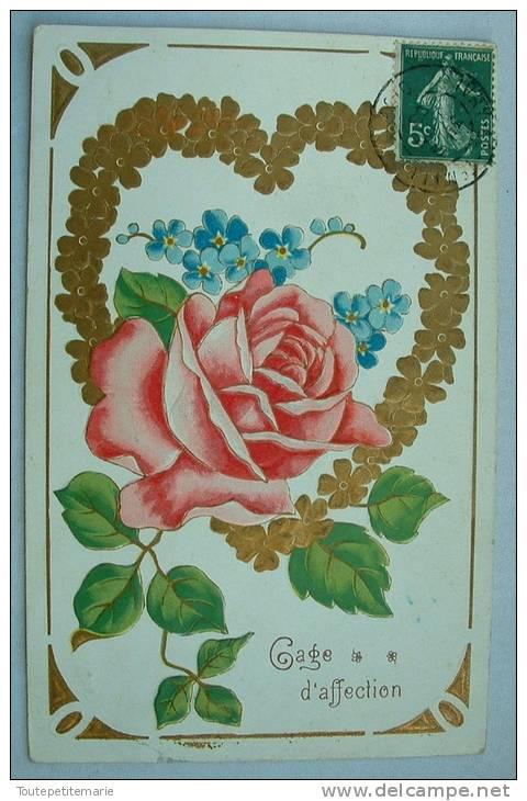 Carte Gauffrée Rose Gage D'affection - Fantaisies