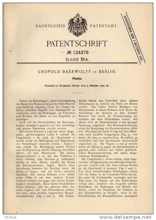 Original Patentschrift - L. Baerwolff In Berlin , 1900 , Piano , Pianino , Klavier !!! - Musikinstrumente