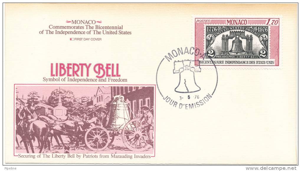 Monaco  FDC 3-5-1976 U.S. Bi-Centennial 1776 - 1976 With Cachet - Independecia USA