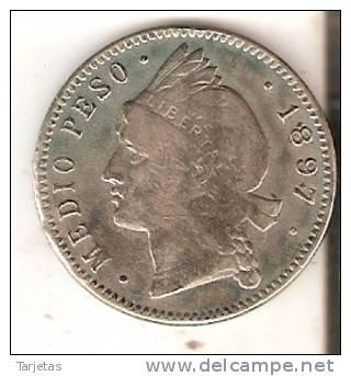 MONEDA DE PLATA DE LA REP. DOMINICANA DE MEDIO PESO DEL AÑO 1897  (COIN) SILVER,ARGENT. - Dominicaine