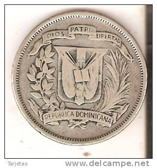 MONEDA DE PLATA DE LA REP. DOMINICANA DE MEDIO PESO DEL AÑO 1937  (COIN) SILVER,ARGENT. - Dominikanische Rep.