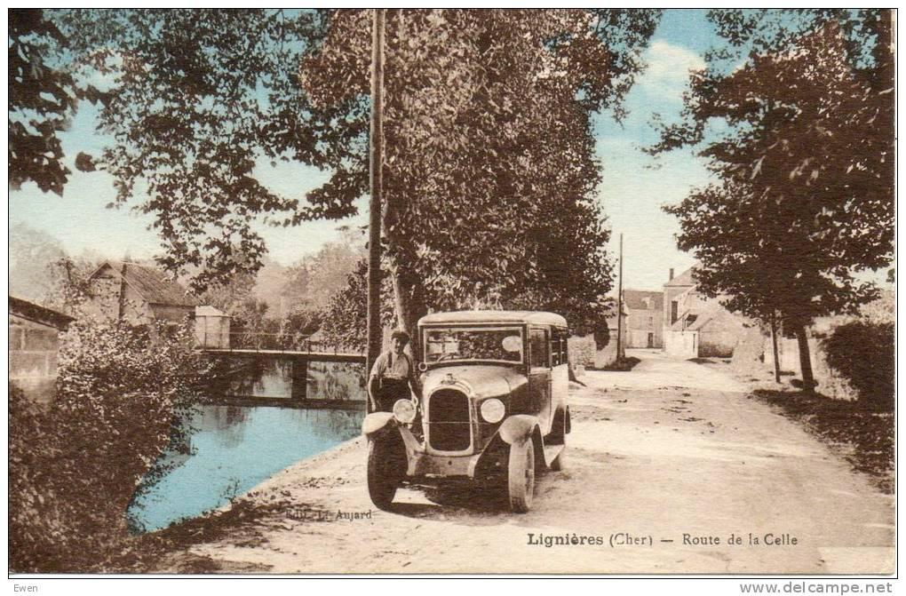 Lignières. Route De La Celle. (Voiture Ancienne En Gros Plan) - Francia